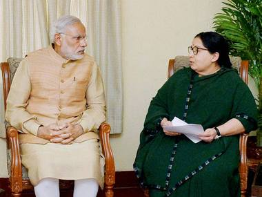 J Jayalalithaa with Prime Minister Narendra Modi in a file photo. PTI
