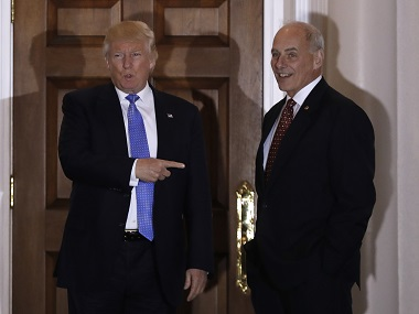 File image of Donald Trump and Marine General John Kelly. AP