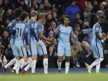 Manchester City's Raheem Sterling celebrates scoring their second goal. Reuters