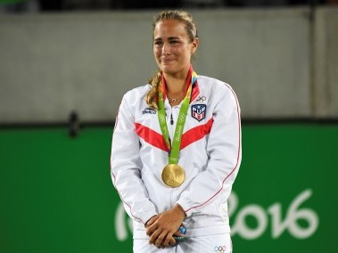 An emotional Monica Puig during the podium ceremony of Rio Olympics. AFP