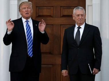 US President-elect Donald Trump with retired Marine General James Mattis. Reuters