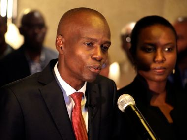 Jovenel Moise addresses the media. Reuters