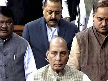 New Delhi: Union Home Minister Rajnath Singh in the Lok Sabha. PTI Photo