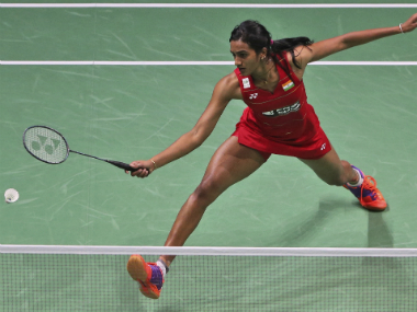 PV Sindhu in her match against Sung Ji-Hyun. AP