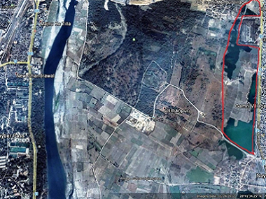A Google Maps grab of proposed landfill site on the Yamuna Flood Plains.