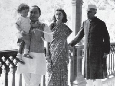 Feroze and Indira Gandhi with Jawaharlal Nehru. Their first son Rajiv was born in 1944 in Bombay. NMML, New Delhi