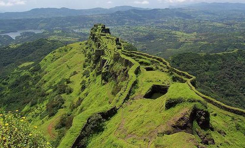 Aerial view of Rajgad Fort. Wikimedia commons