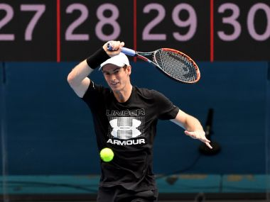 Andy Murray hits a forehand return during a training session in Melbourne. AFP