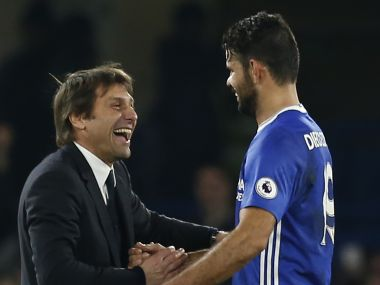 Antonio Conte (L) is confident Diego Costa will be a Chelsea player next season. AFP