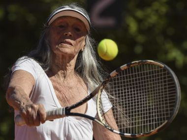 Senior tennis player Ana Obarrio, 83, hits the ball during a tennis match in Buenos Aires. AFP