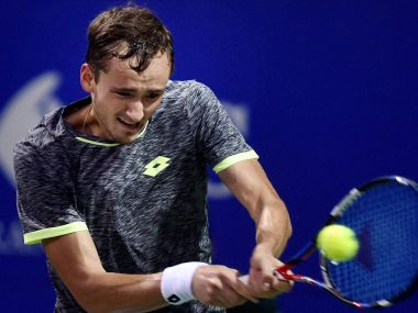 Daniil Medvedev of Russia returns the ball to Dudi Sela of Israel during their semi-final match at ATP Chennai Open 2017 in Chennai on Saturday. PTI
