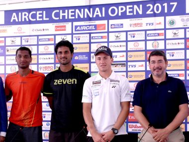 Ramkumar Ramanathan, Saketh Myneni, Casper Ruud at the Aircel Chennai Open Draw Ceremony.