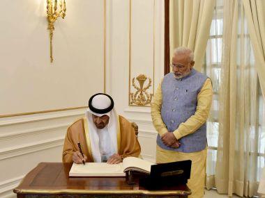 The Crown Prince of Abu Dhabi, Deputy Supreme Commander of UAE General Sheikh Mohammed bin Zayed Al Nahyan with Prime Minister Narendra Modi. PIB