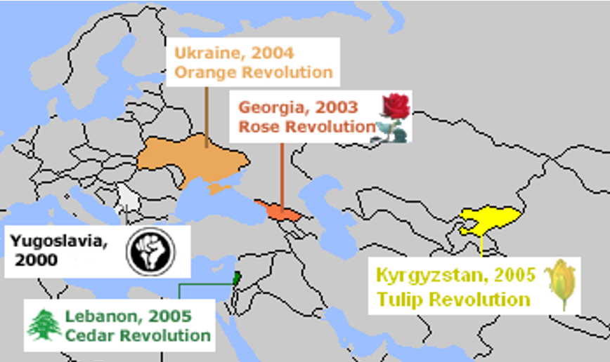 Map Showing The Colour Revolution