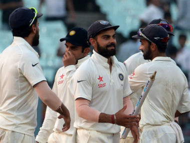File photo of Virat Kohli and teammates. AFP