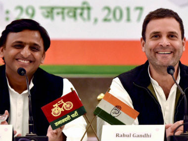 File image of Rahul Gandhi and Akhilesh Yadav. PTI