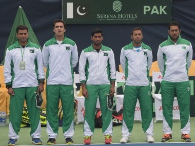 The Davis Cup team of Pakistan ahead of their group II match against Iran. AFP