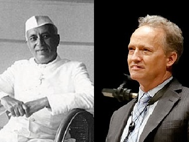(L-R) Nehru and Ted Nash. Image courtesy: Twitter