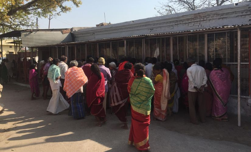 Everyday scores of people arrive at the VHP workshop where a model of Ram Mandir is kept. Image courtesy: Parth MN/Firstpost