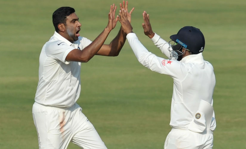 Ravichandran Ashwin in action in the one-off Test against Bangladesh in Hyderabad. AFP
