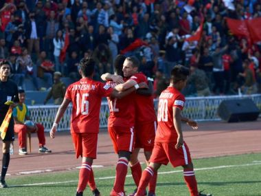Aizawl FC players celebrate during win over Churchill Brothers. Twitter/ @ILeagueOfficial