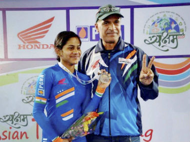 Aleena Reji poses with her bronze medal on Day 2 of the Championships. PTI