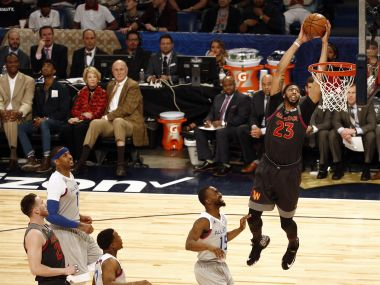 Western Conference forward Anthony Davis dunks the ball against Eastern Conference. Reuters