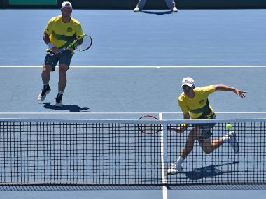 John Peers and Sam Groth in action for Australia in the Davis Cup. AFP