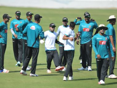 Bangladesh team players takes part in a practice session on the eve of the Test match against India. AFP