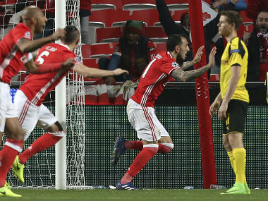 Kostas Mitroglou scored the only goal to beat Borussia Dortmund. AP