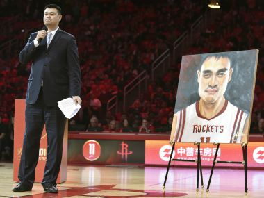 Retired Houston Rockets center Yao Ming speaks during his jersey number retirement ceremony. AP