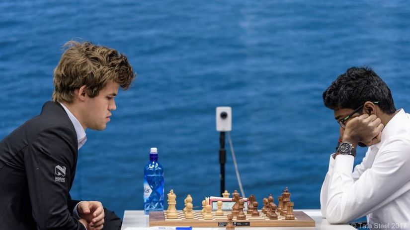 Adhiban drew his game against the boss of the chess world Magnus Carlsen. Image courtesy: Tata Steel Chess