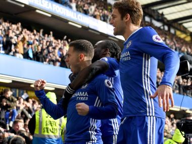 Eden Hazard scored a delightful goal as Chelsea beat Arsenal to cement their place at the top of the Premier League. Twitter/@ChelseaFC