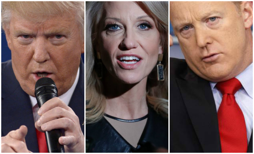 File images of Donald Trump, Kellyanne Conway and Sean Spicer. AP