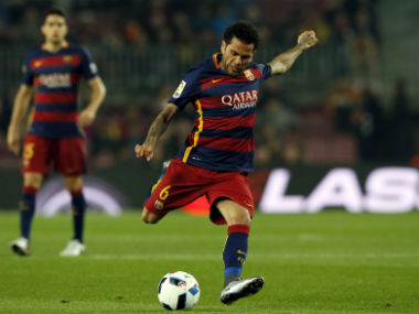 File photo of Dani Alves in Barcelona colours. Reuters