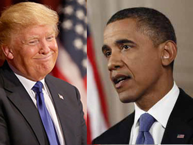 File image of US president Donald Trump and former president Barack Obama. Agencies