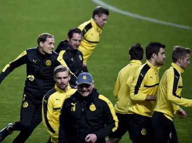 Dortmund's head coach Thomas Tuchel attends a training session ahead of their Champions League match. AFP