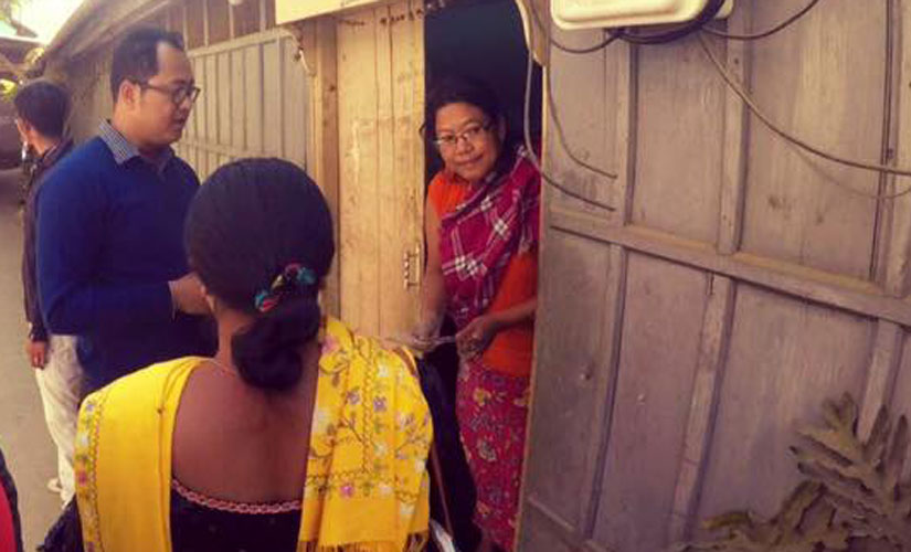 PRJA candidate from Thangmeiband Assembly consituency in Manipur Erendro Leichombam during a door-to-door campaign. Image from Erendro Leichombam's Facebook page