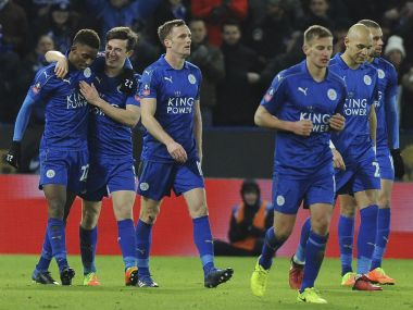 Leicester's players celebrate the goal of Demarai Gray during the FA Cup fourth round replay against Derby County. AP