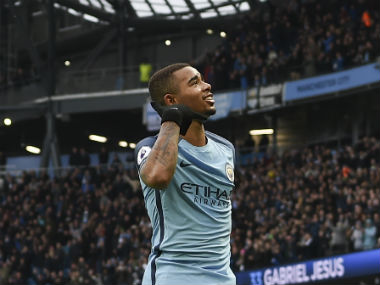 Gabriel Jesus celebrates after scoring the injury-time winner against Swansea City. AFP