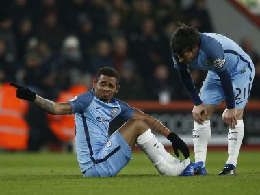Gabriel Jesus picked up in injury in Manchester City's match at Bournemouth. Reuters
