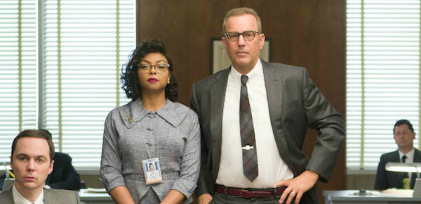(From Left) Jim Parsons plays Paul Strafford, Taraji P Henson plays Katherine G Johnson and Kevin Costner plays Al Harrison. Image Courtesy: Youtube
