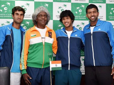 File photo of the Indian Davis Cup team featuring Somdev Devvarman. PTI