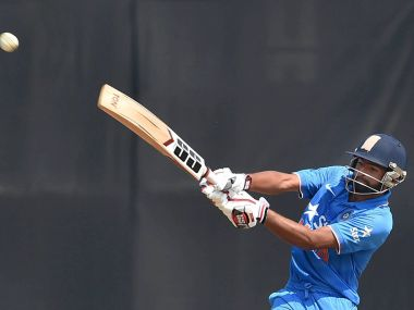 India's U-19 player takes a shot during the 1st Youth ODI against England U-19 at Wankhede Stadium in Mumbai on Wednesday. PTI
