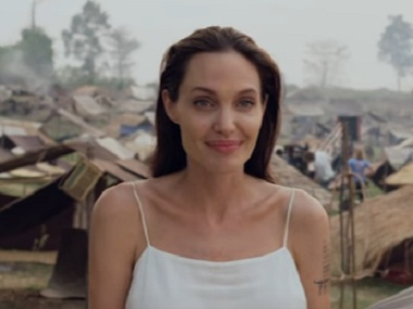 Jolie during the making of the film. Via Youtube