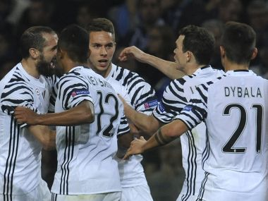 Juventus' Marko Pjaca, 3rd left, celebrates after scoring the opening goal. AP