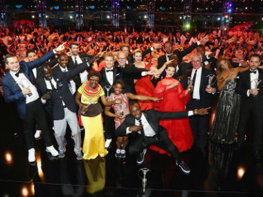 The winners of the Laureus World Sports Awards perform Usain Bolt's iconic move. Image Credit: Facebook/ @LaureusSportforGood