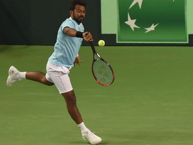 India's Leander Paes during India's Davis Cup match against New Zealand. AFP