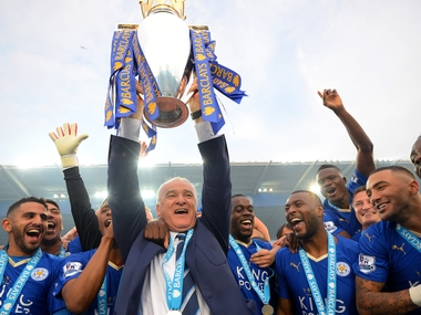 Claudio Ranieri with Leicester City players after they won the Premier League title in 2016. Getty