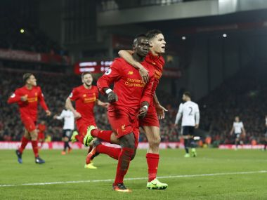 Liverpool's Sadio Mane celebrates scoring their second goal against Tottenham. Reuters